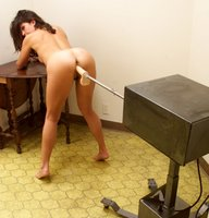 Karina Ballerina's perfect pussy gets pounded by machines.