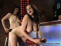 Goth Mistress punishes and fucks her slave in a club