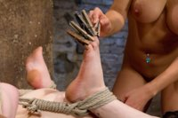 Wooden poles behind the elbows are brutal and Juliette takes it like a champ. Bound in a hogtie, Isis challenges her with corporal games and orgasms.