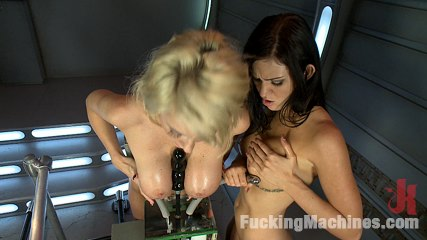 The boob duo storming the sex machines with their boobs. Hot Blonde & Brunette show off their weapons of mass distraction while have sexual intercourse fast machines. Their oiled up HUGE natural tits bounce and sweat as they ejaculate