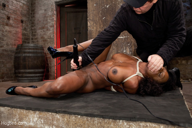 Ebony fitness enthusiast Ashely Star gets HogTied, Dominated, and made to cum, while aggressively struggling to get free in a hot manhandled mess!