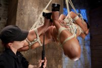 One of HogTied's best models Skin Diamond is put to the test with very strict bondage, inverted suspensions, nipple play, and crazy hard orgasms.