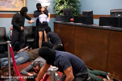 Fantasy role-play update where a sexy bank teller gets handcuffed and gangbanged by masked bank robbers!