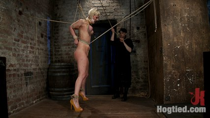Cherry torn live part 1. Cherry Torn Live Show Part 1 - Cherry is suspended by her tits / elbows / crotch rope and worked over cruel with the single tail and nipple clamps.