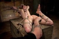 Bonnie day gets caned, flogged and fucked in a series of challenging hogties. Nipple-weights, foot-torment and clothespin zippers test this sluts endu