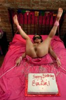 HOT TS Threesome - Ts Foxxy ties up and ass & face pounds Ts Eva Lin. They both fuck & milk their boy toy, eating his cum of the birthday cake!
