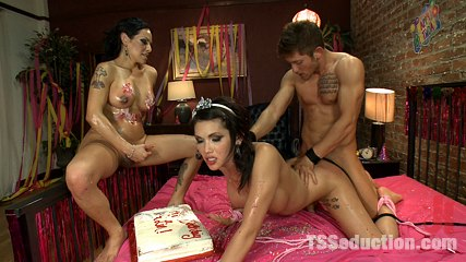 Eva lin s birthday ejaculate eating threesome birthday party ts foxxy and cole have intercourse eva lin. HOT TS Threesome - Ts Foxxy ties up and anal & face pounds Ts Eva Lin. They both make love & milk their boy toy, eating his cumshot of the birthday cake!