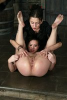 Asian sub gets her  pussy flogged and her tight ass fingered