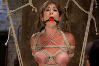 Squirt queen and most flexible MILF Felony gets run through her paces in a straddle split suspension then tough inversion for Part 1 of her Live Show.