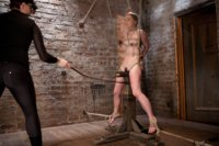 In part 3 of AnnaBelle's Live Show, she is bound to the cruel wooden pony, tested with endurance in bondage & pain, and finished in tough suspension.