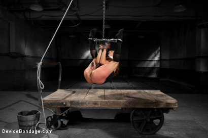 Tough girl Amber Rayne gets suspended by metal cuffs only, drilled to the floor, and suspended in a straddle split with leather!