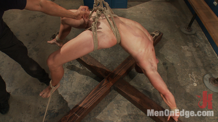 Patrick rouge cums in mid air. Ripped stud edged and blew his load in mid air.