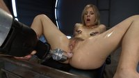 The kitchen sink was next: Fucking Chastity Lynn with every big cock & fast machine in the room. Double Anal, Goat Milkers, tit clamps, pussy bangin'