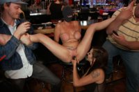 Big-tittied blonde ass-fucked for the very first time in a crowded bar!