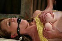 Jessia fucked in her virgin ass with a strap-on in the barn.