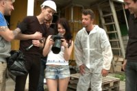 Russian photo student hunting for the perfect picture finds herself in an industrial area where she is bound and gangbanged by 5 laborers.
