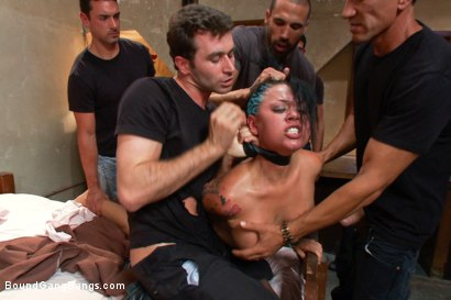 Eva Angelina plays a hooker who gets busted by an undercover cop then gangbanged by him and his friends. Double penetration, double vag, double anal!!
