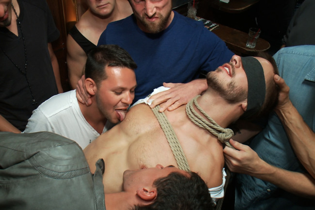 Bound in Public - Bryan Cole - Adam Herst - Tristan Jaxx - Naked ripped stud gets humiliated and used in a crowded public bar. #1