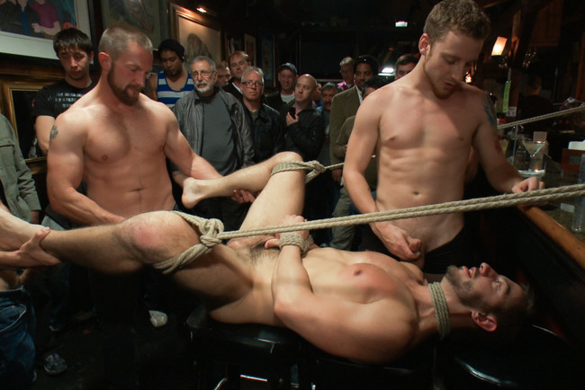 Bound in Public - Bryan Cole - Adam Herst - Tristan Jaxx - Naked ripped stud gets humiliated and used in a crowded public bar. #10