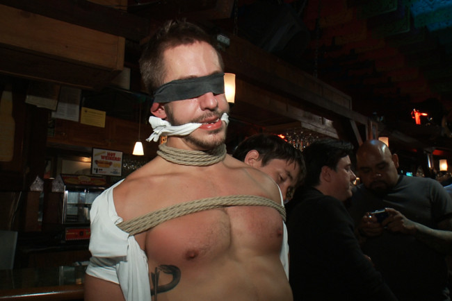 Bound in Public - Bryan Cole - Adam Herst - Tristan Jaxx - Naked ripped stud gets humiliated and used in a crowded public bar. #14