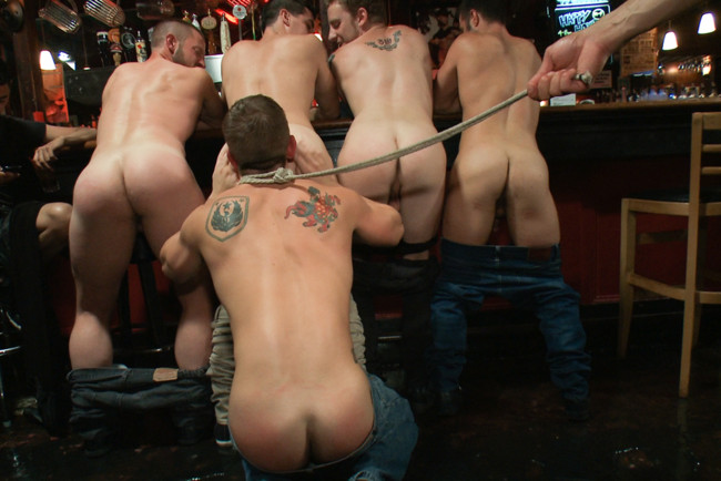 Bound in Public - Bryan Cole - Adam Herst - Tristan Jaxx - Naked ripped stud gets humiliated and used in a crowded public bar. #15