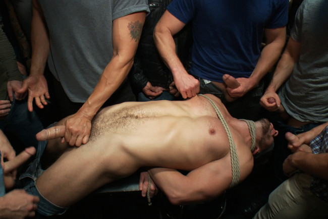 Bound in Public - Bryan Cole - Adam Herst - Tristan Jaxx - Naked ripped stud gets humiliated and used in a crowded public bar. #4