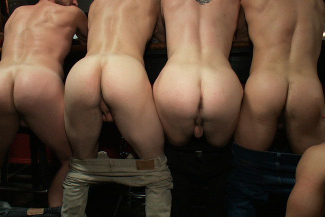 Bound in Public - Bryan Cole - Adam Herst - Tristan Jaxx - Naked ripped stud gets humiliated and used in a crowded public bar. #6