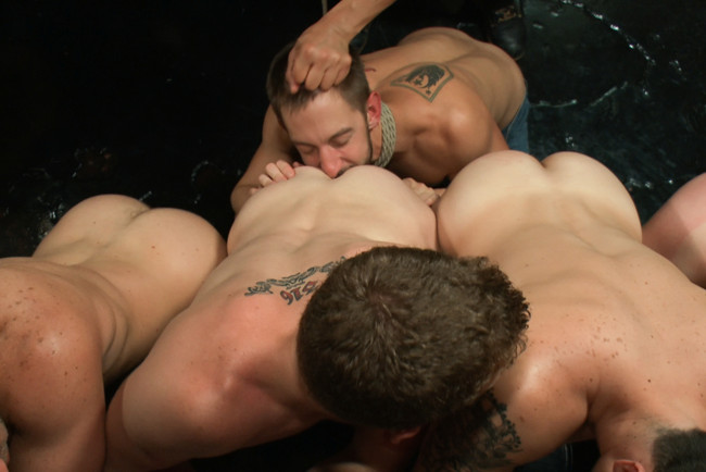 Bound in Public - Bryan Cole - Adam Herst - Tristan Jaxx - Naked ripped stud gets humiliated and used in a crowded public bar. #8