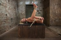 Hot muscular MILF Simone Sonay is made to work out bound, given intense breast bondage predicament, spread extremely wide, and cums until she can't.