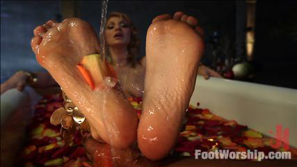 Princess wants black slave to join her in the bathtub and massage her feet with his cock