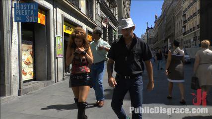 Cum Guzzling Euro trash Whore, Hanna Montada, gets fucked like a sex doll in busy urban Madrid