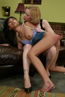 Exotic beauty Nyomi takes her punishment from domme Petal