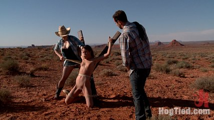 Feature shoot  hitchhiker in trouble. Nice Amber hitchhikes a ride from Maestro and Claire. Too late to turn back, she becomes a pawn in this sadistic couple's bdsm games in the Wild West.