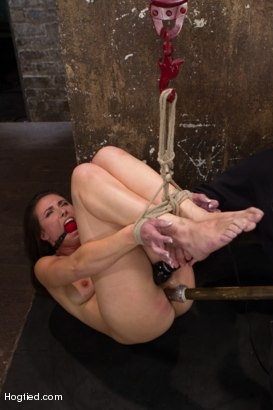 Sgt major returns challenging hot brunette Casey Calvert with painful crotch & neck rope play, intense hogtie, exposing steer tie, & nice ass caning.