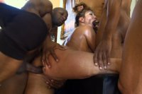 Ava Devine takes on 5 black men in intense interracial gbang with creampies, double anal, and facials.