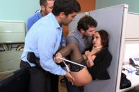 Ava Addams is lured back to the office under false pretenses & her male co-workers finally get the opportunity to play w/ her huge tits & tight holes