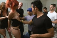 Redheaded slut is ass fucked in public, made to gag on cock, and endure painful clamps, and uncontrollable orgasms