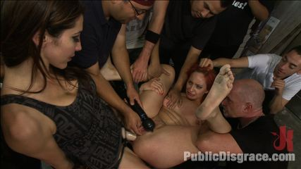 Strapon have intercourse and fisted for the first time in public. Redheaded bitch is analy have sex in public, made to gag on cock, and endure painful clamps, and uncontrollable orgasms