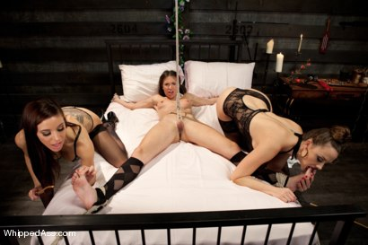 Adorable all natural brunette takes on two of the hottest bitch dommes punishing and fucking her hard in porn in her first week in porn!