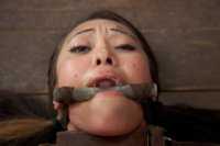 Disgraced porn star Jayden Lee is bent over a barrel, made to pull on her own nipple clamps, challenged to take a huge cunt hook, & bound inescapably.