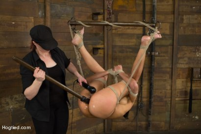 Beretta cums back for a round of intense bondage and humiliation play featuring a brutal kneeling hogtie, pretzel suspension, & tough chair tie.