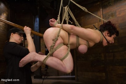 Russian trained former ballerina Annika is subjected to asphyx predicament bondage, classic HogTied arched spread, suspended ball tie, & ass fucking!