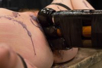 Proxy submits to Orlando and inescapable bondage predicaments, clit torment, painful wax play, double penetration, and lots of pain/pleasure games.