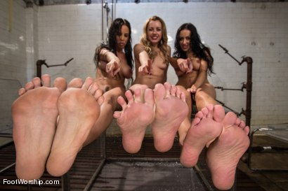 Breanne Benson, Lexi belle & Brandy Aniston peel away layers of wet nylons worshiping each others feet and having a foot fetish sex lesbian 3some!
