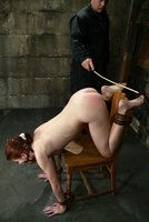 Bound hottie gets caned, flogged, tickled, and made to cum.