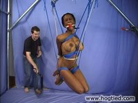 Voluptuous woman tied up and milked.
