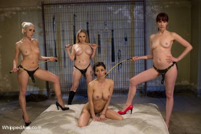 Gia Dimarco taken down & destroyed by three evil dominatrix with fisting in suspension bondage, squirting & an evil caning while strap-on ass fucked!