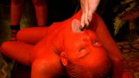 Ts Danni Daniels descends like a demon angel onto the red painted Chloe Camilla in a rare Upper Floor role play drama that ends with Chloe swallowing.