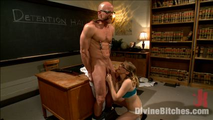 Naughty schoolgirl is seducing her teacher and then cuckolding him in bondage at the detention class