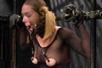 Star is endures pantyhose encasement bondage, latex breath play games, and cruel orgasm predicaments in cold steel and tight leather bondage.